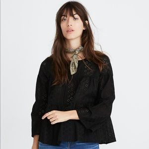 NWT Madewell Eyelet Tiered Button Back Top